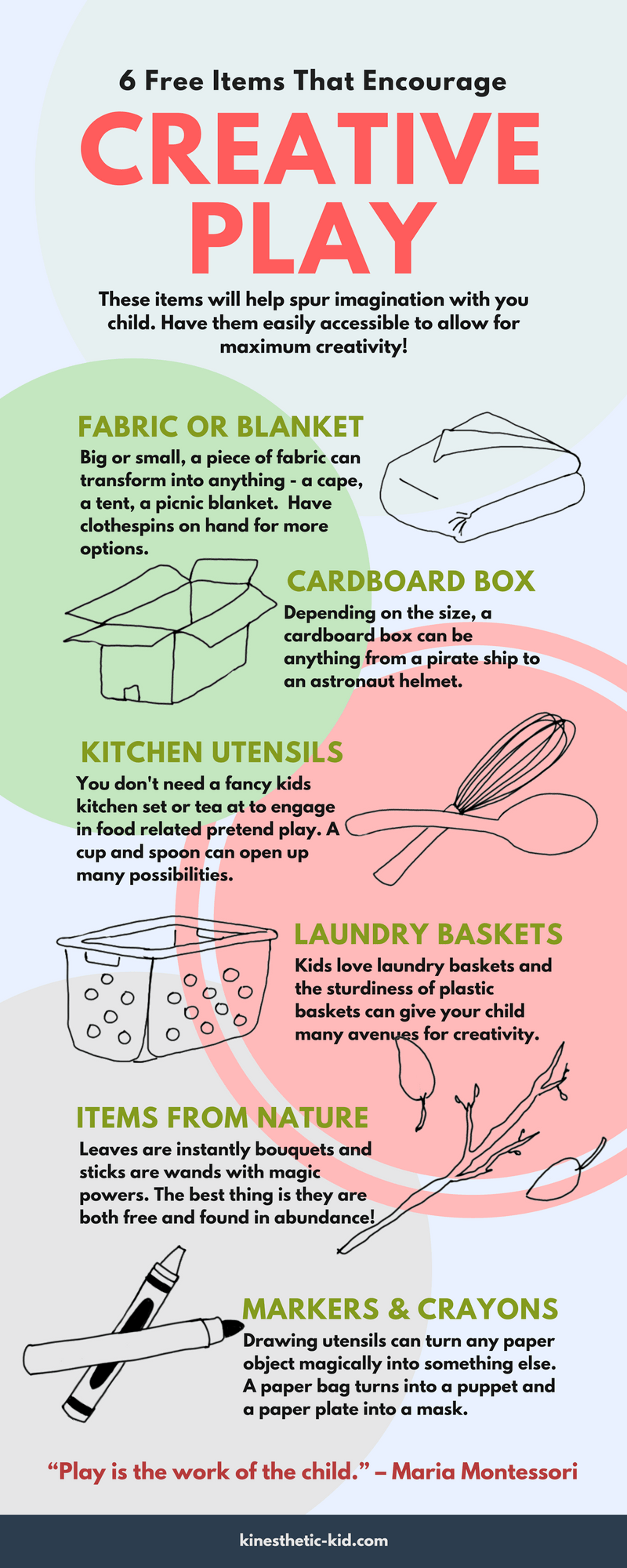 Here are 6 items to have on hand to encourage creative play with your children.